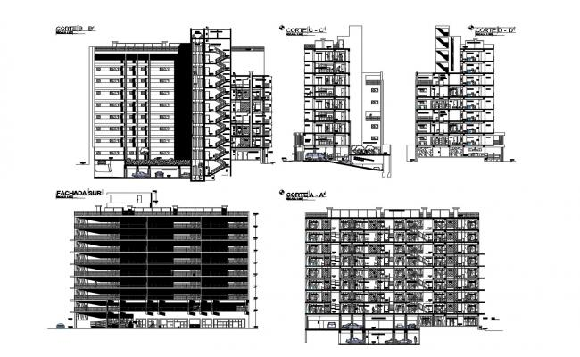 Multi Storey Building Design Plan In DWG File