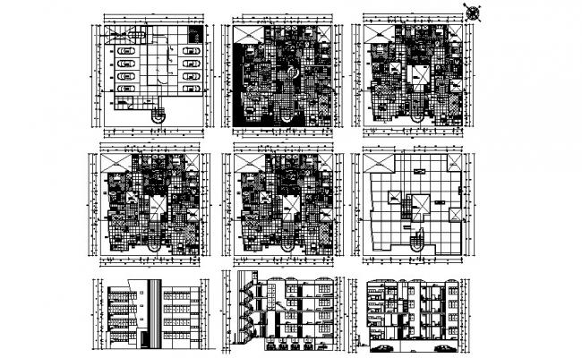 Multistorey residential building with detail dimension in AutoCAD