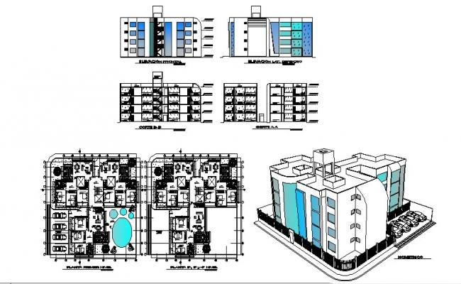 Multistorey residential building with section and elevation in dwg file