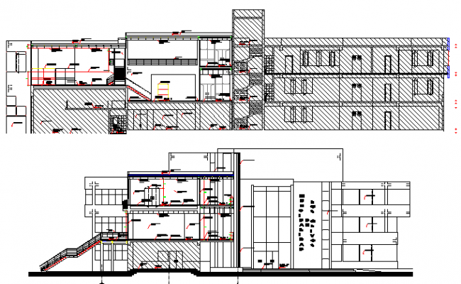 Ping Mall Plan Elevation Section : Municipal shopping complex architecture layout and