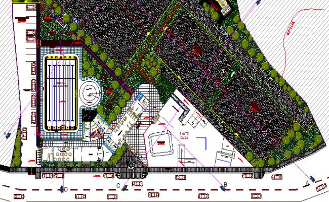 Municipal Sports Ground Architecture Layout dwg file