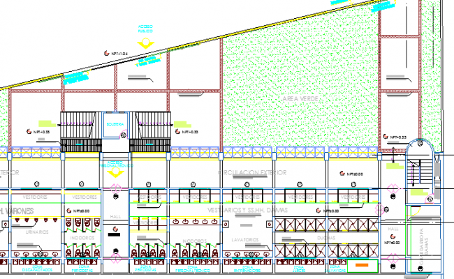 Municipal Swimming Pool Architecture Layout Plan dwg file
