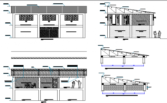 Municipal agency elevation and sectional details dwg file