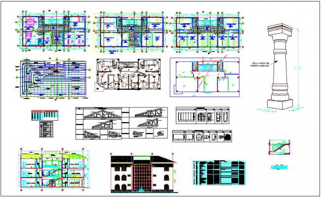 Municipal building architectural plan with door,window,column & electrical view dwg file