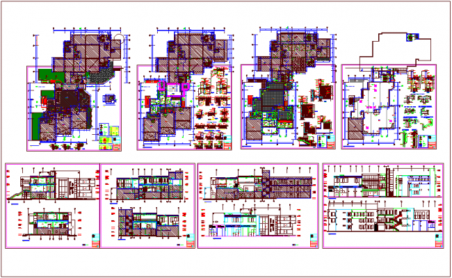 Municipal building floor plan,elevation and section view dwg file