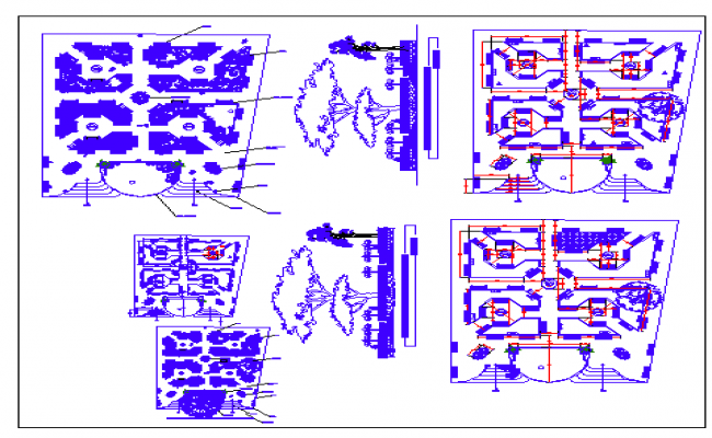 Municipal park landscaping and structure details dwg file