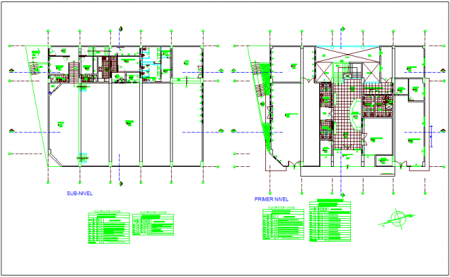 Municipality building sub level and first floor plan dwg file