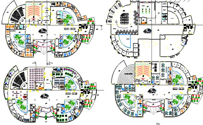 Municipality office building floor plan details dwg file