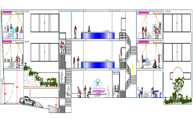 Museum Architecture Layout and Section Details dwg file