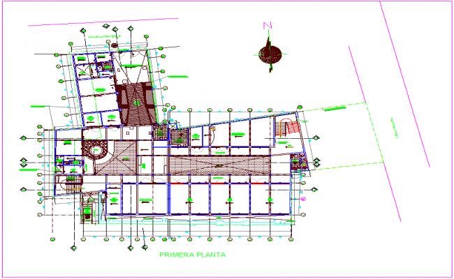 Music school plan design view dwg file