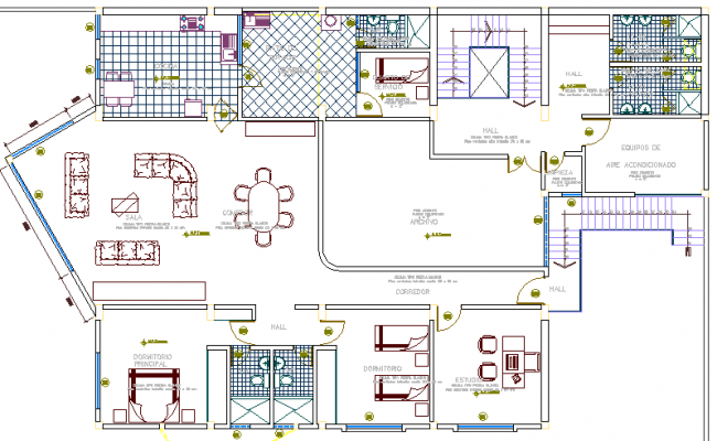 National bank architecture layout plan details dwg file