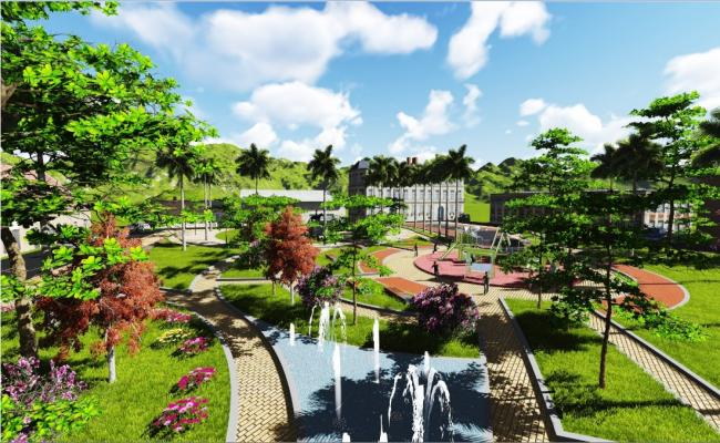 Nature park 3d landscaping structure drawing details jpg file