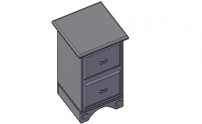 Nightstand 3D Model In AutoCAD File