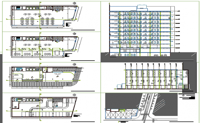 Nine story office building architecture details dwg file