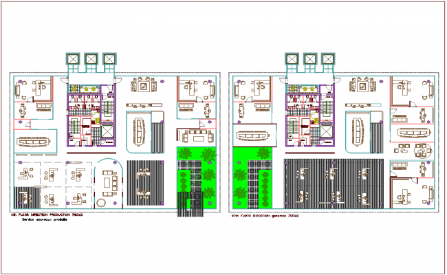 Ninth and tenth floor architectural view of bank head quarter dwg file