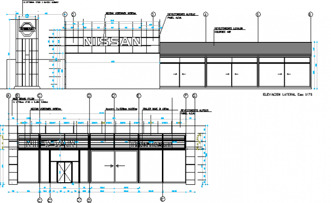 Nissan Auto Motive Center Architecture Project dwg file