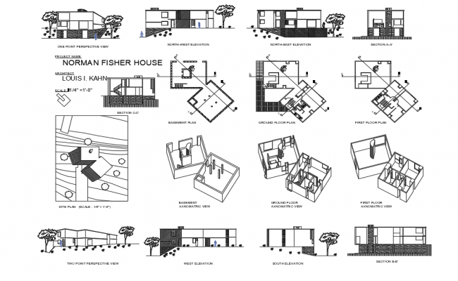 Fisher house dwg, Norman fisher house dwg file