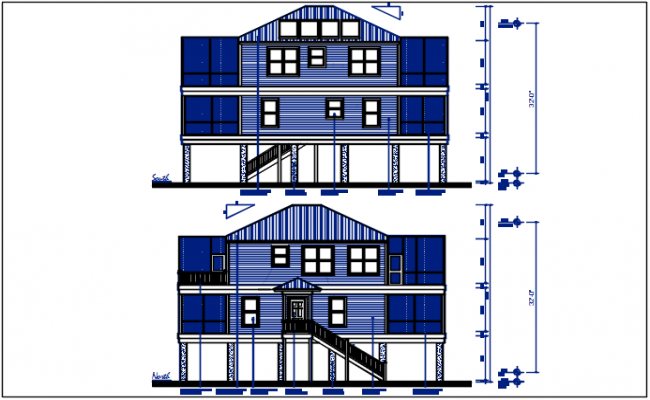 North and south direction plan elevation details dwg file