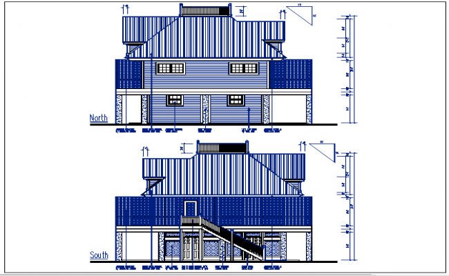 North and south elevation details with dimension details dwg file