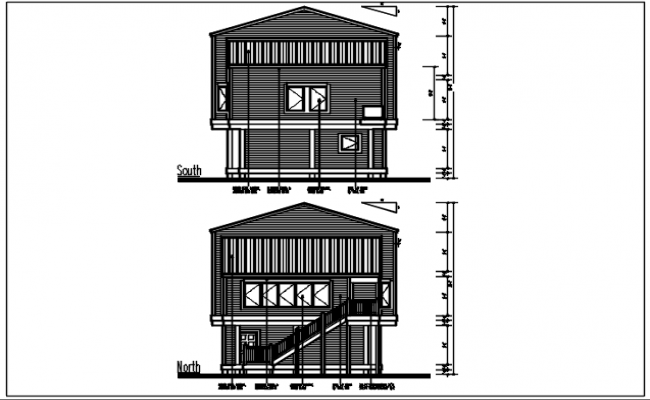 North and south elevation details with dimension details dwg files