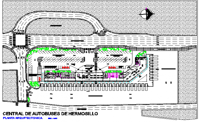North direction Plan Central busher mosillo detail dwg file