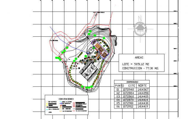 North direction Site plan detail dwg file