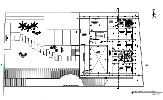 North direction home plan detail dwg file