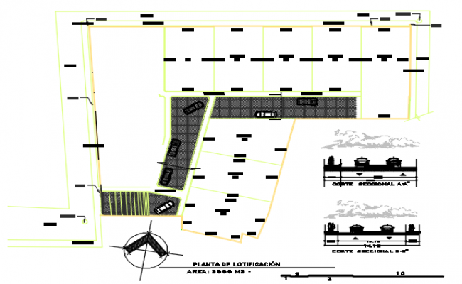 North direction key plan detail dwg file