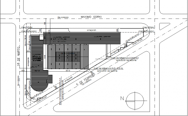 North direction layout plan detail dwg file