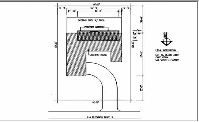 North direction plan view detail dwg file