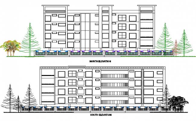 North elevation and south elevation detail dwg file