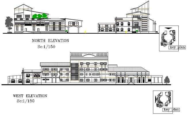 North elevation and west elevation detail dwg file