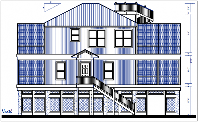 North elevation with design details dwg files