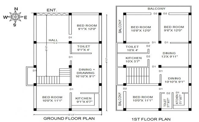 North Facing House Plan Drawing AutoCAD File