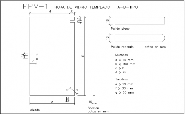 Notches and sectional view design of door dwg file