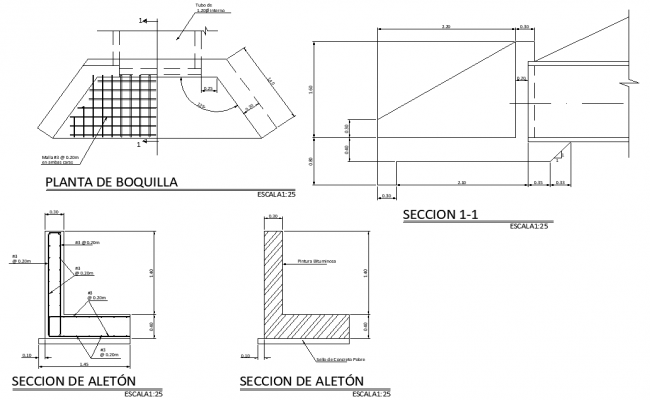 Nozzle plant plan and section detail dwg file