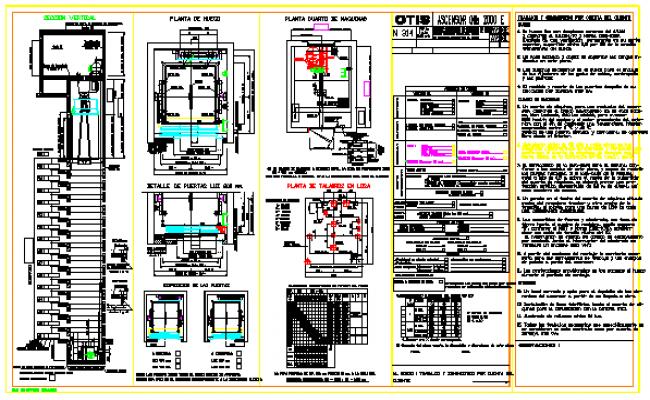 OTIS elevator cad drawings, OTIS elevator detail design drawing