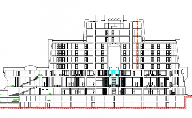 Oberoi Hotel Elevation design dwg file