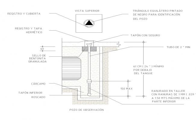 Observation well plan and section dwg file
