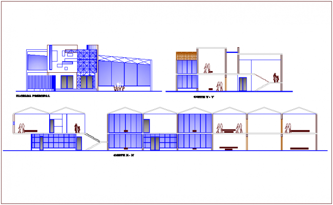 Occupational training center elevation and section view dwg file