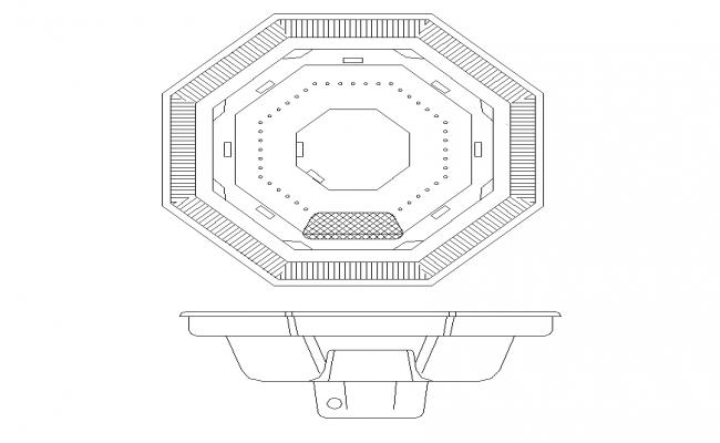 Octagonal shape sinks detail elevation 2d view layout autocad file