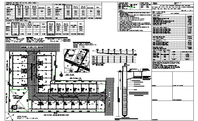Office  plan, elevation and section detail dwg file