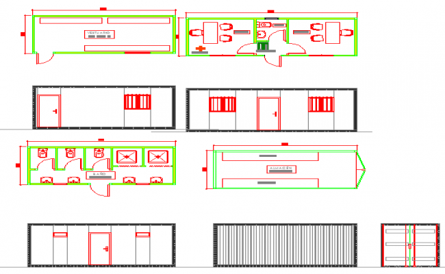 Office plan elevation and architectural drawings