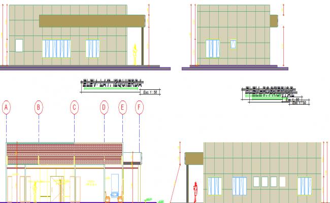 Office 2d elevation details dwg file and building design
