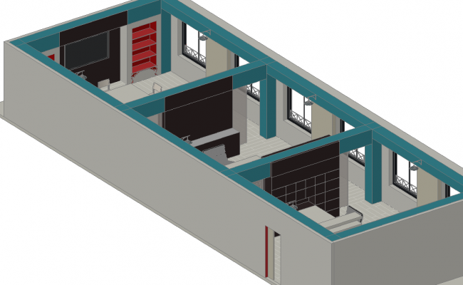 Office 3 D plan detail dwg file