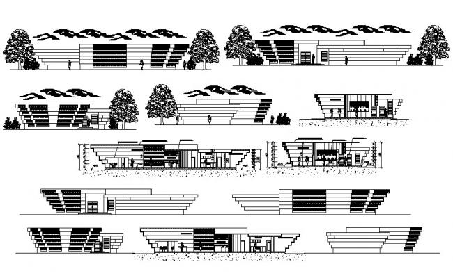 Office Building Elevation And Section Plan