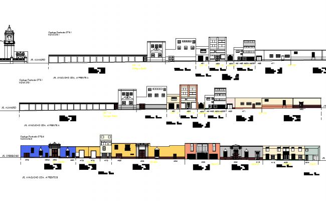Office Building Elevation design dwg file