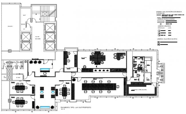 Office Building Furniture Layout Plan DWG File
