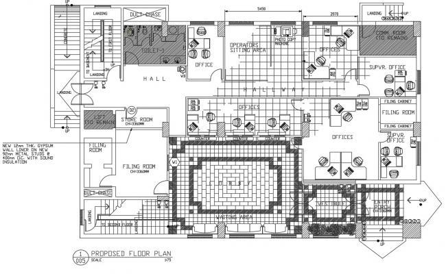 Office Building Interior CAD Plan