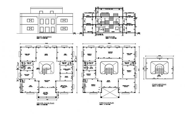 Office Building Plan, elevation and Section CAD Drawing